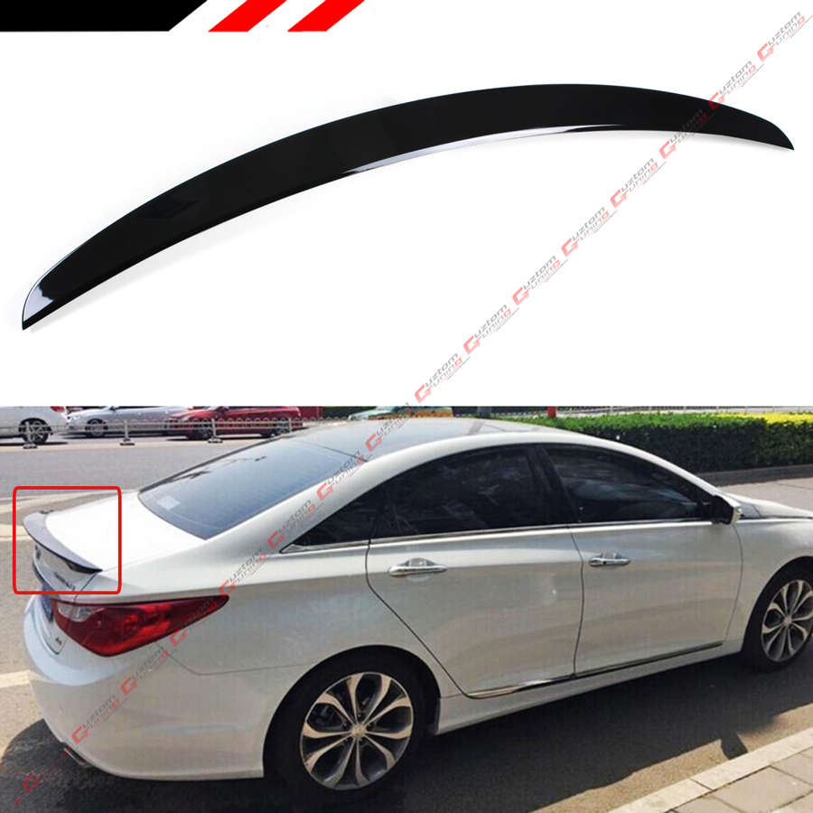 FOR 2011-14 HYUNDAI SONATA GLS SE PAINTED GLOSSY BLK KDM SPORT TRUNK LID SPOILER