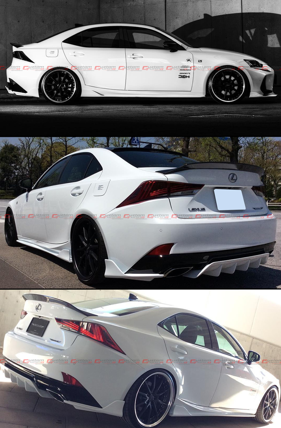 VRracing New Fits for Lexus IS250 IS350 IS200t 4 Door 2014-2017 F Sport Style Rear Trunk Deck Lid Spoiler Wing Unpainted Primer Black ABS 2015 2016 2017