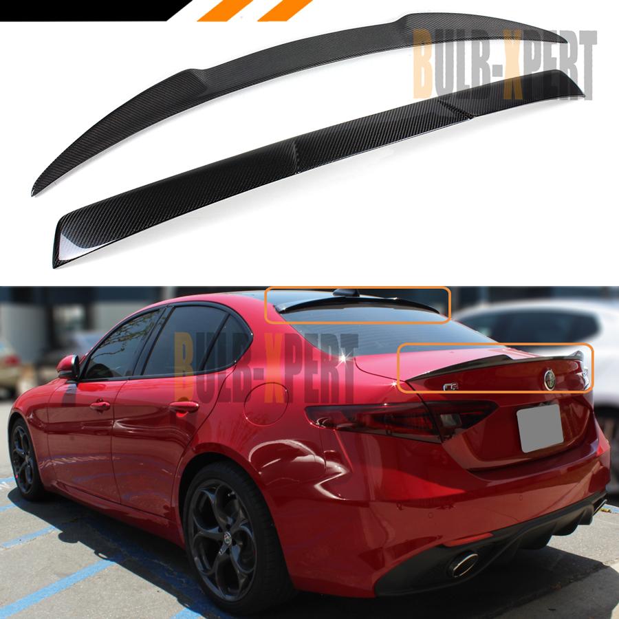 montford for Alfa Romeo Giulia 2017 2018 Carbon Fiber Exterior Rear Spoiler Tail Trunk Lip Boot Wing Decoration Car Styling