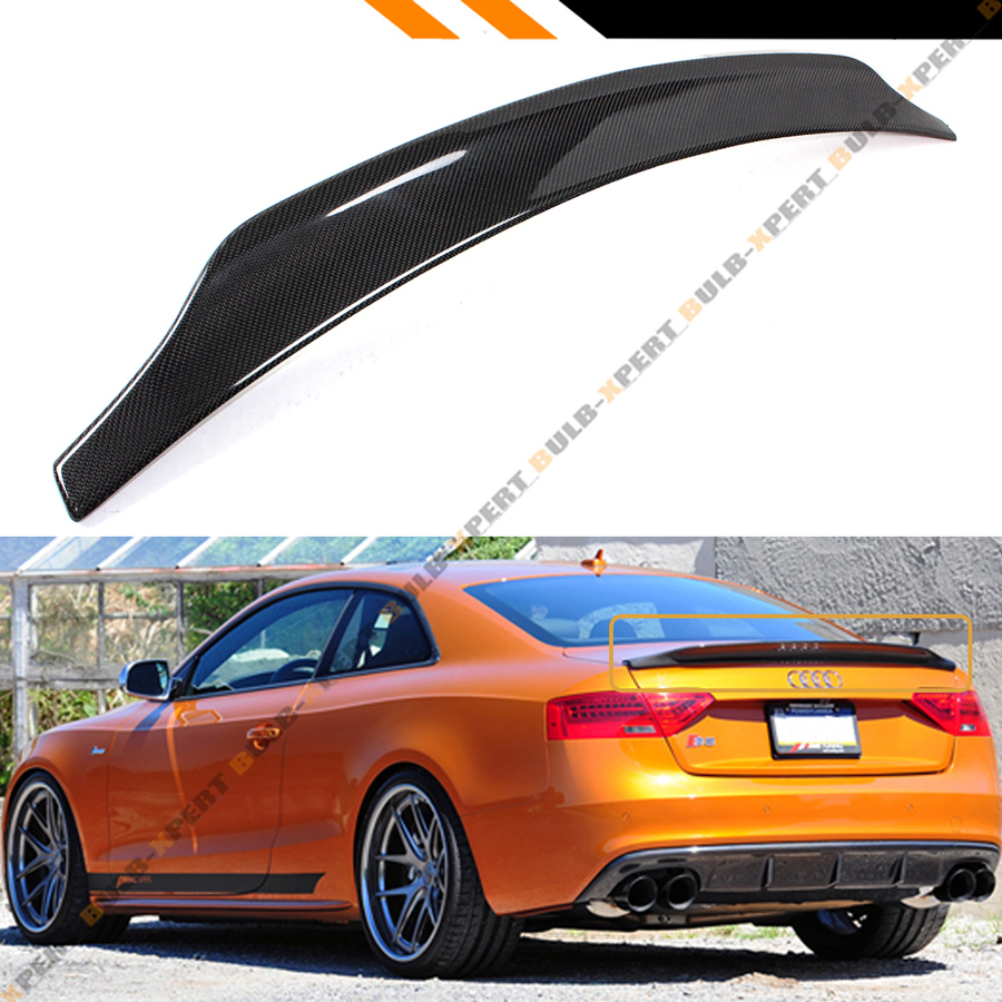 for 2009 2016 audi s5 rs5 cat style carbon fiber highkick trunk lid spoiler wing ebay. Black Bedroom Furniture Sets. Home Design Ideas