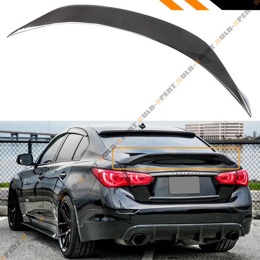 For 2014-18 Infiniti Q50 Duckbill Style Carbon Fiber Highkick Trunk Spoiler Wing