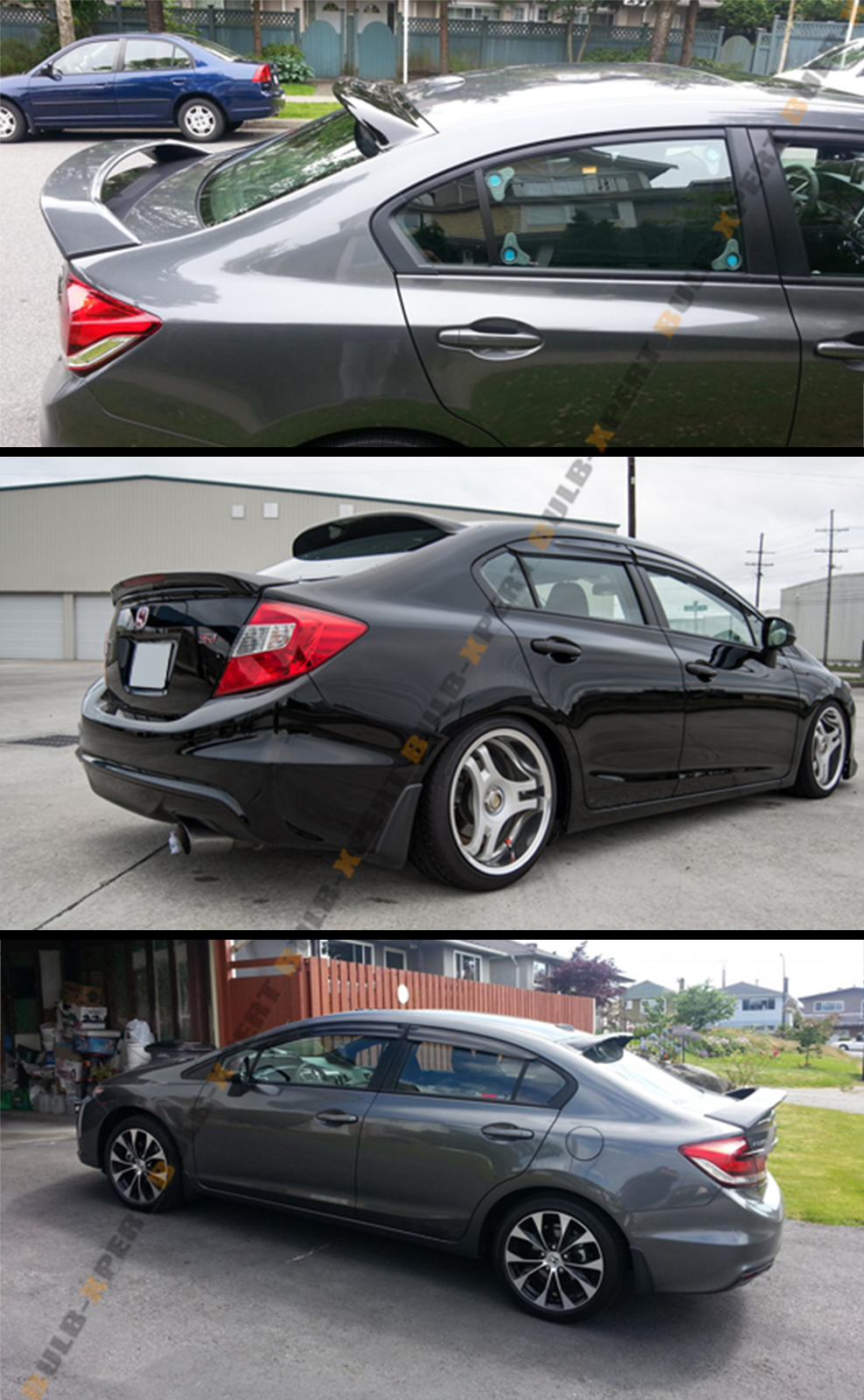 Hic jdm rear roof window visor deflector for 2012 2015 9th for Honda civic 9th gen