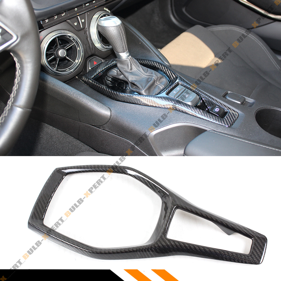 FOR 2016-18 CHEVY CAMARO SS RS CARBON FIBER SHIFTER GEAR BOX CONSOLE TRIM COVER