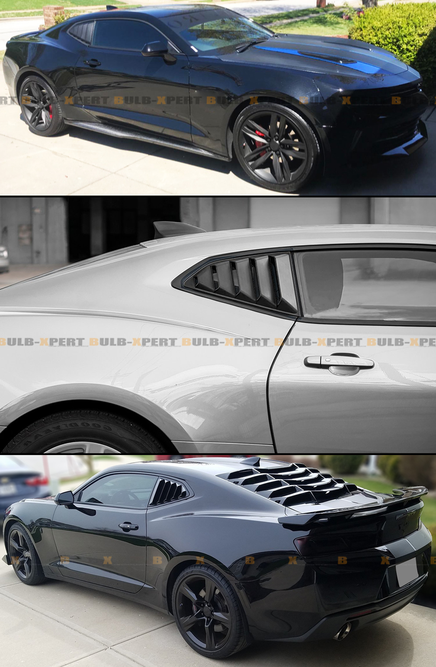 Louver Cover Glossy 1//4 Quarter Rear Side Window Vents for Chevy Camaro 2016-up