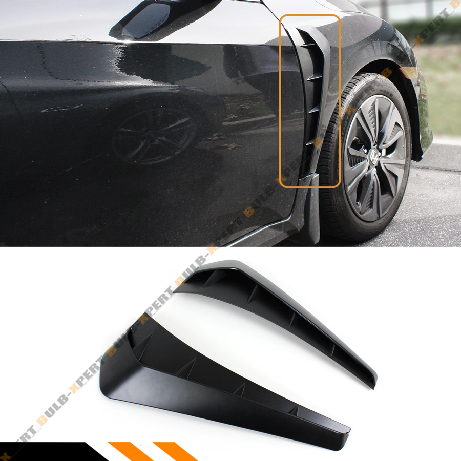 Black MagiDeal 1 Pair Side Fender Vent Air Wing Cover Decoration for Honda Civic 2016-2018