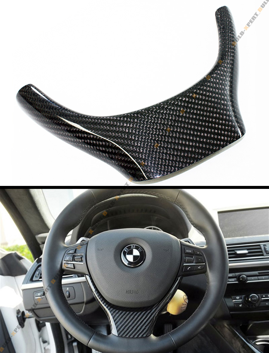 Carbon Fiber Steering Wheel Accent Trim Cover For 2011 2014 Bmw F10 F11 5 Series Ebay