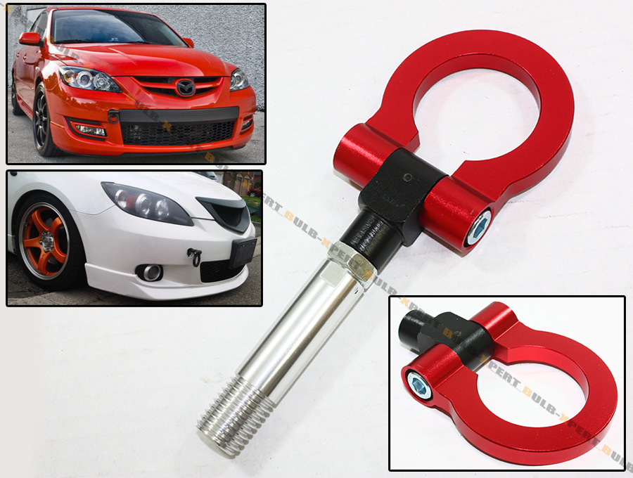 Red Jdm Folding Screw On Type Front Rear Tow Hook For