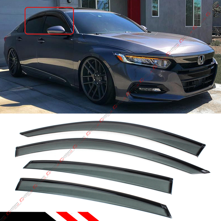 FOR 2018-2019 HONDA ACCORD CLIP-ON BLACK TRIM WINDOW VISOR