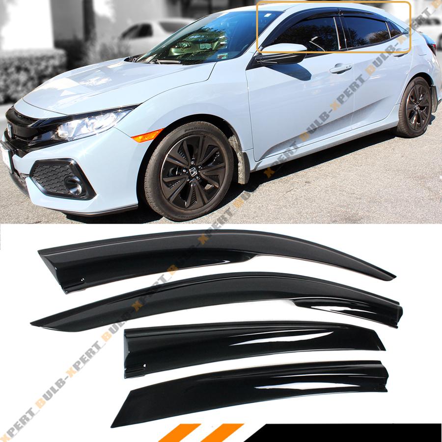 Fit 17 18 Honda Civic Hatchback 3D JDM STYLE WINDOW VISOR VENT SHADE Deflectors