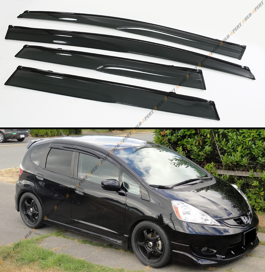 jdm 3d wavy smoked clip on window visor shade blk trim for. Black Bedroom Furniture Sets. Home Design Ideas