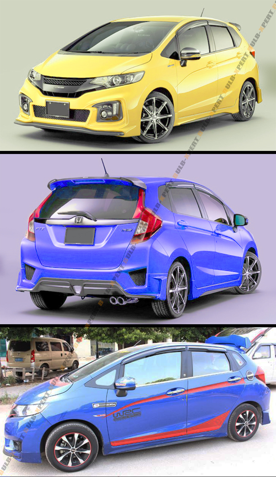2015 up 3rd gen honda fit jazz gk jdm 3d wavy smoked. Black Bedroom Furniture Sets. Home Design Ideas