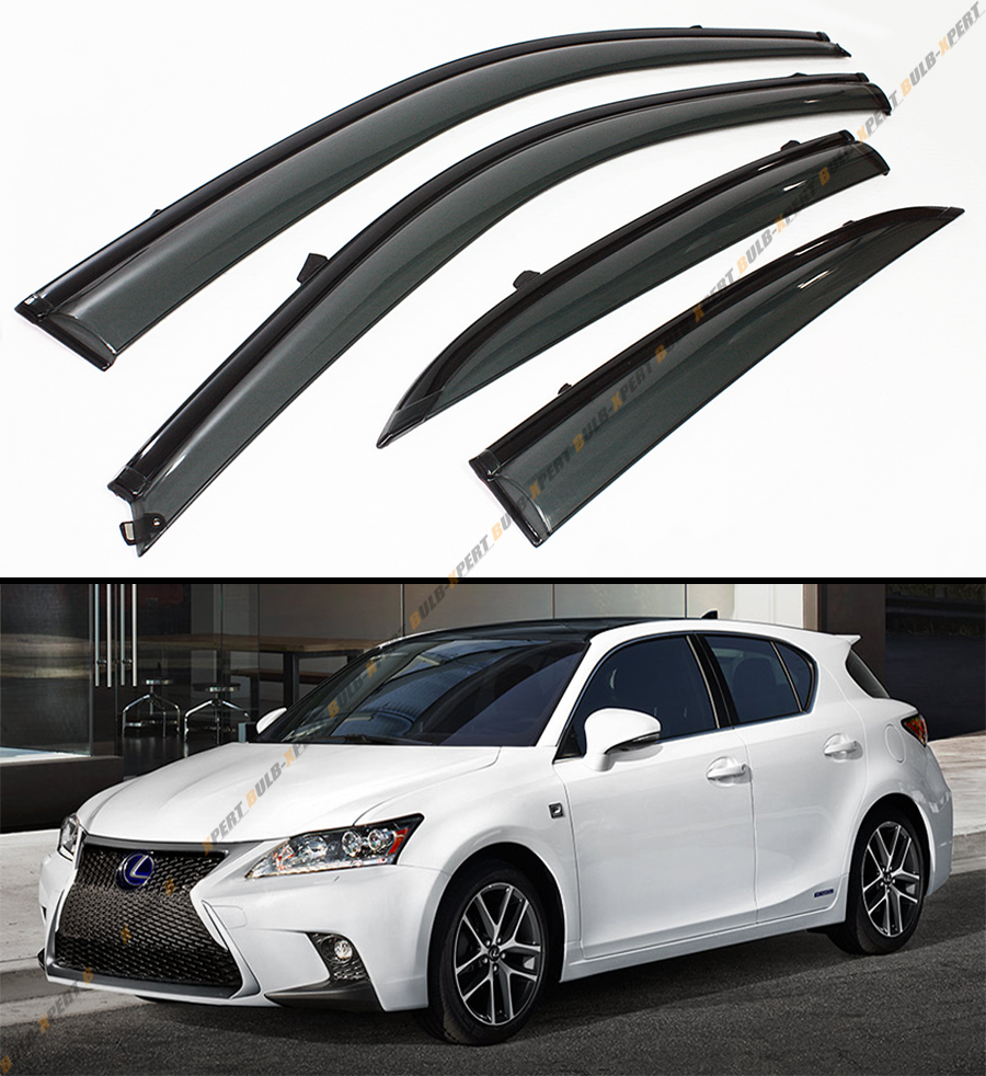 2011 Lexus Ct Suspension: CLIP-ON JDM SMOKE TINTED WINDOW VISOR BLK TRIM FITS ZWA10