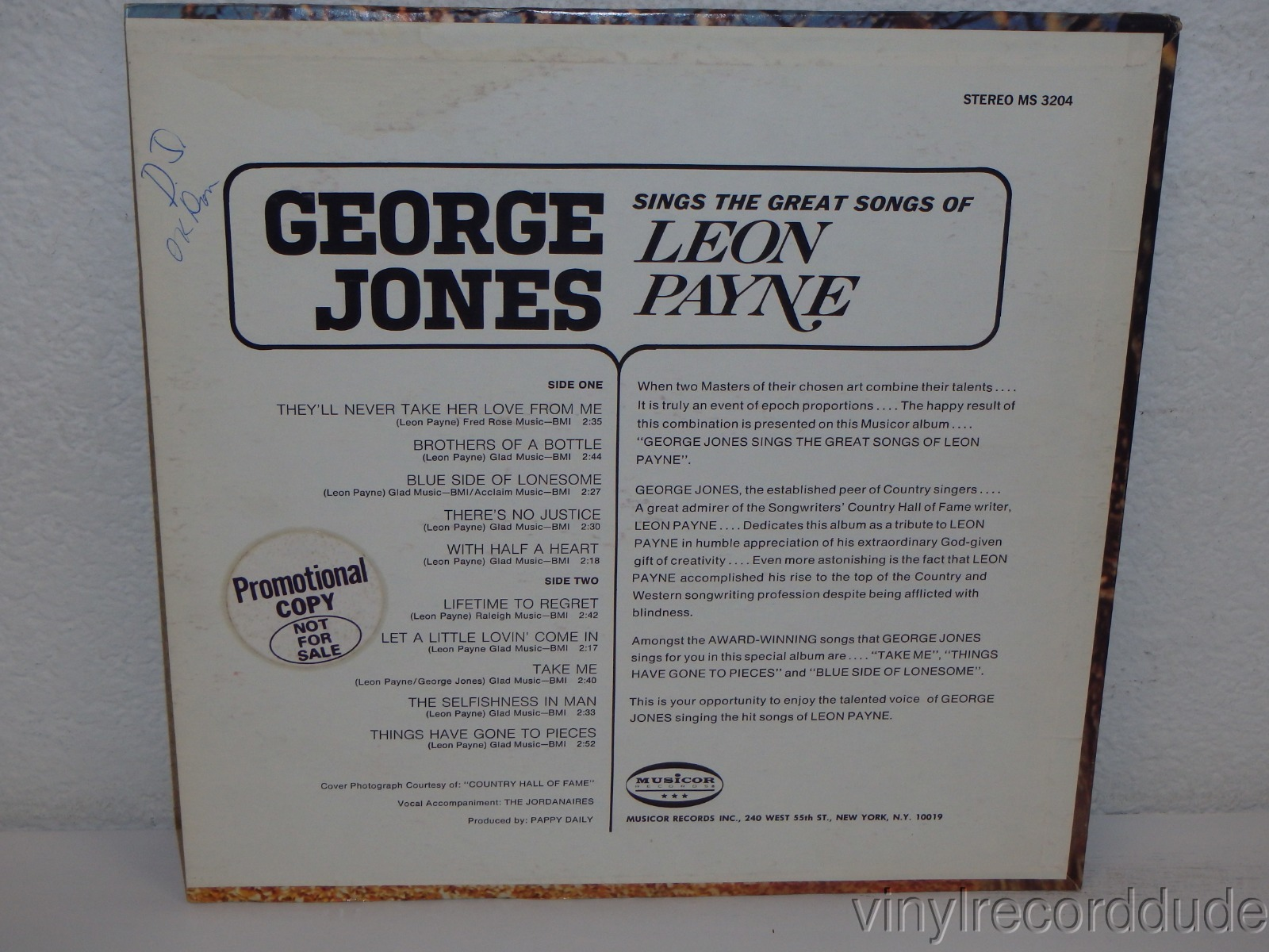 Details about GEORGE JONES Sings The Great Songs Of Leon Payne 1971 PROMO  NM! Musicor MS 3204