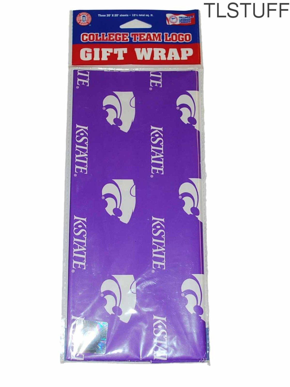 NCAA Kansas State Wildcats KSU Wrapping Paper 3 Pc