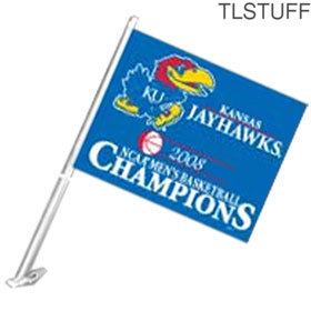 NCAA KU Kansas Jayhawks Car Flag 2008 Mens BB Nati