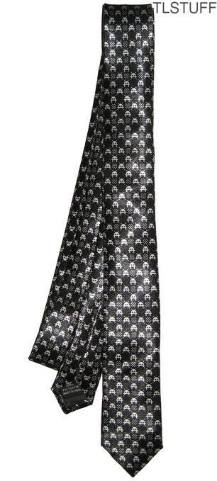 Black Tie Geek Space Invaders Retro Thin Skinny Ne