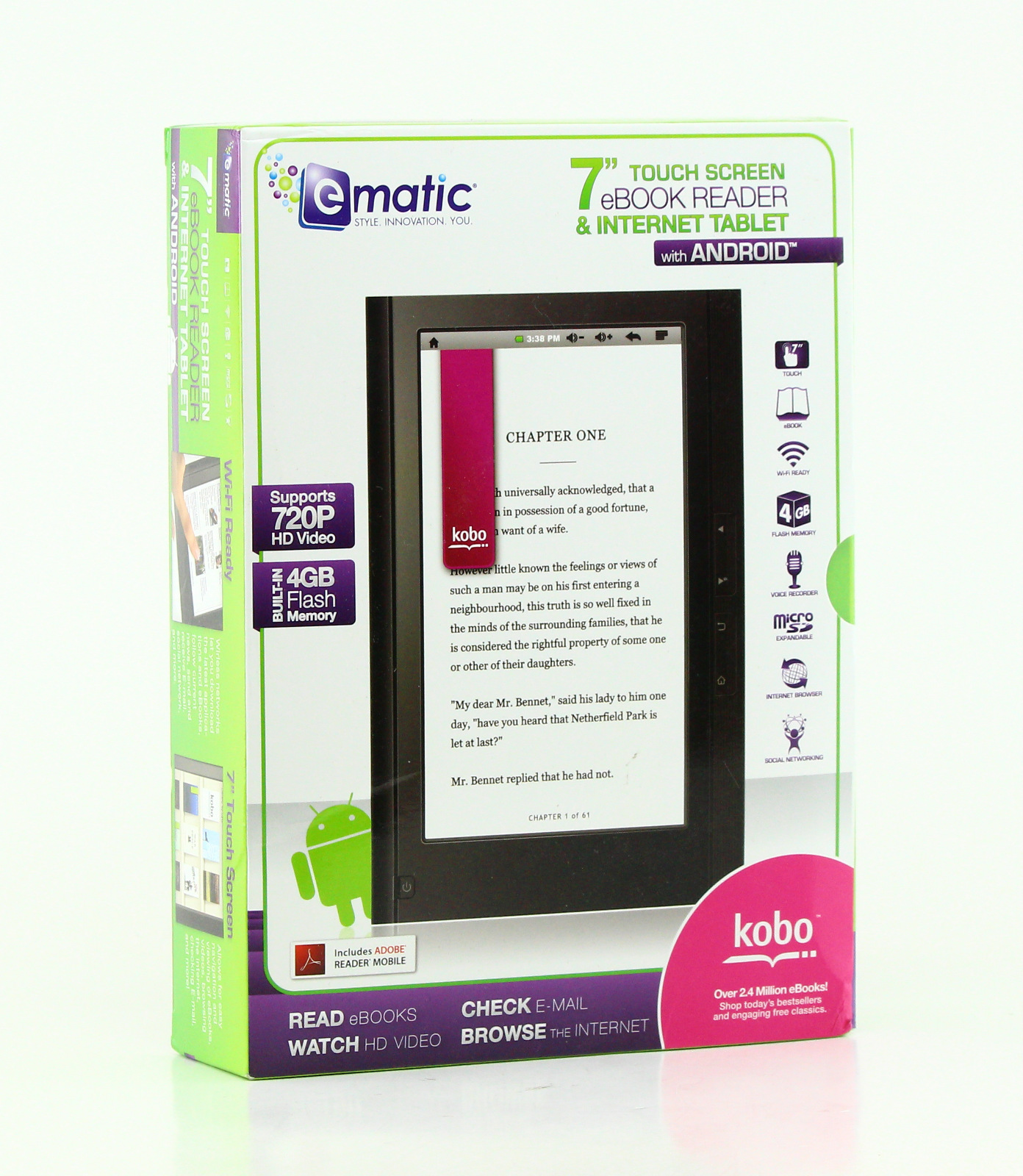 ematic 7 034 4gb touch screen android ebook reader and wifi internet tablet ebw204b ebay. Black Bedroom Furniture Sets. Home Design Ideas