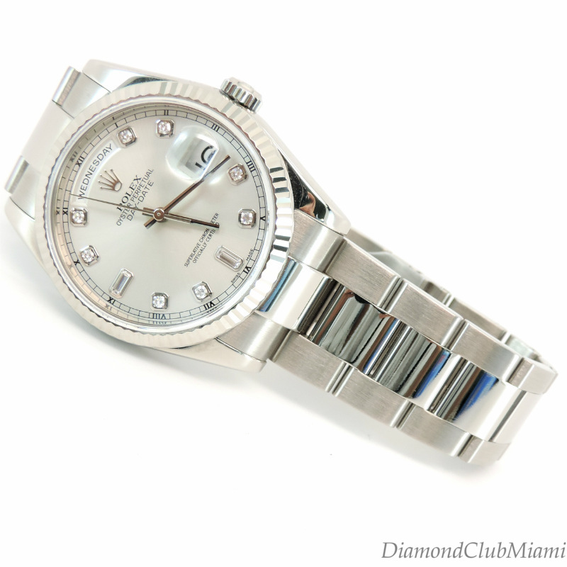 63fa49769d7 Diamond Club Miami Presents This authentic Rolex President Day-Date 18k  White Gold Diamond Watch 118209. is crafted in 18K white gold.