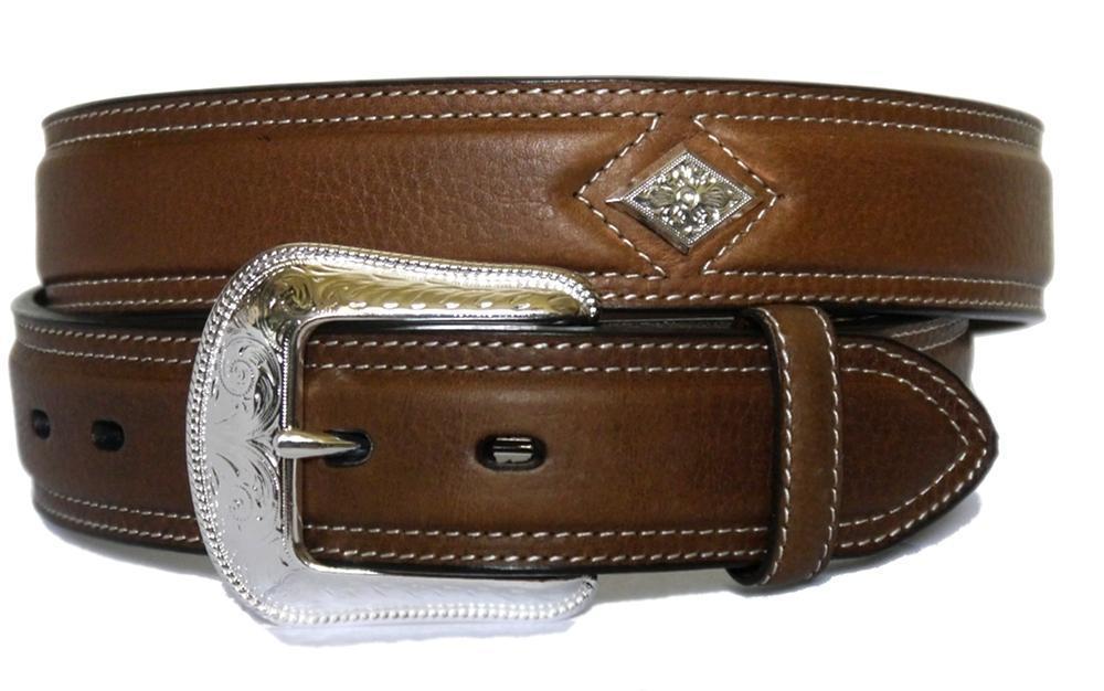 3d western mens belt leather w conchos brown 8874