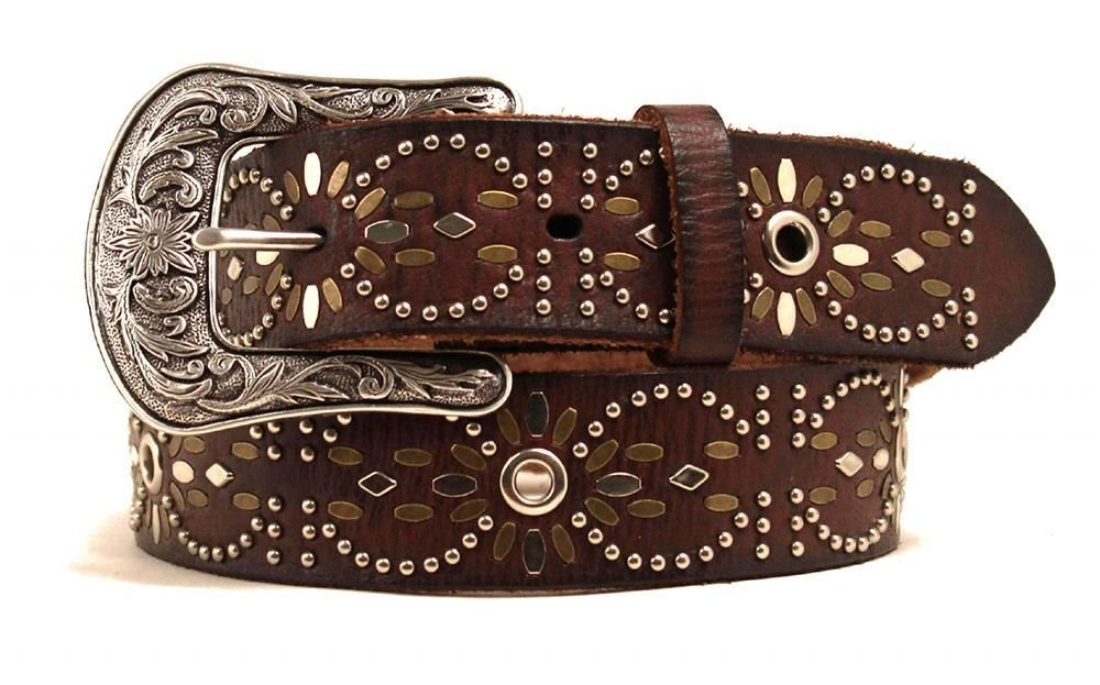 ariat western womens belt leather studded eyelet brown