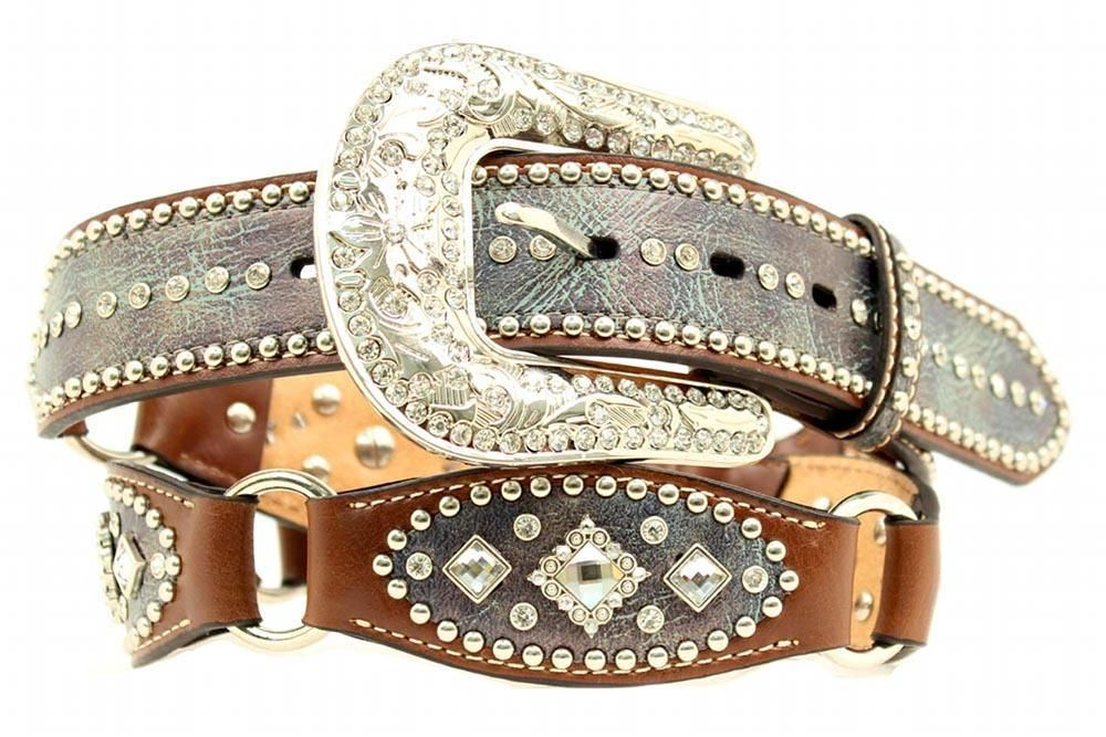 nocona western womens belt leather link scallop