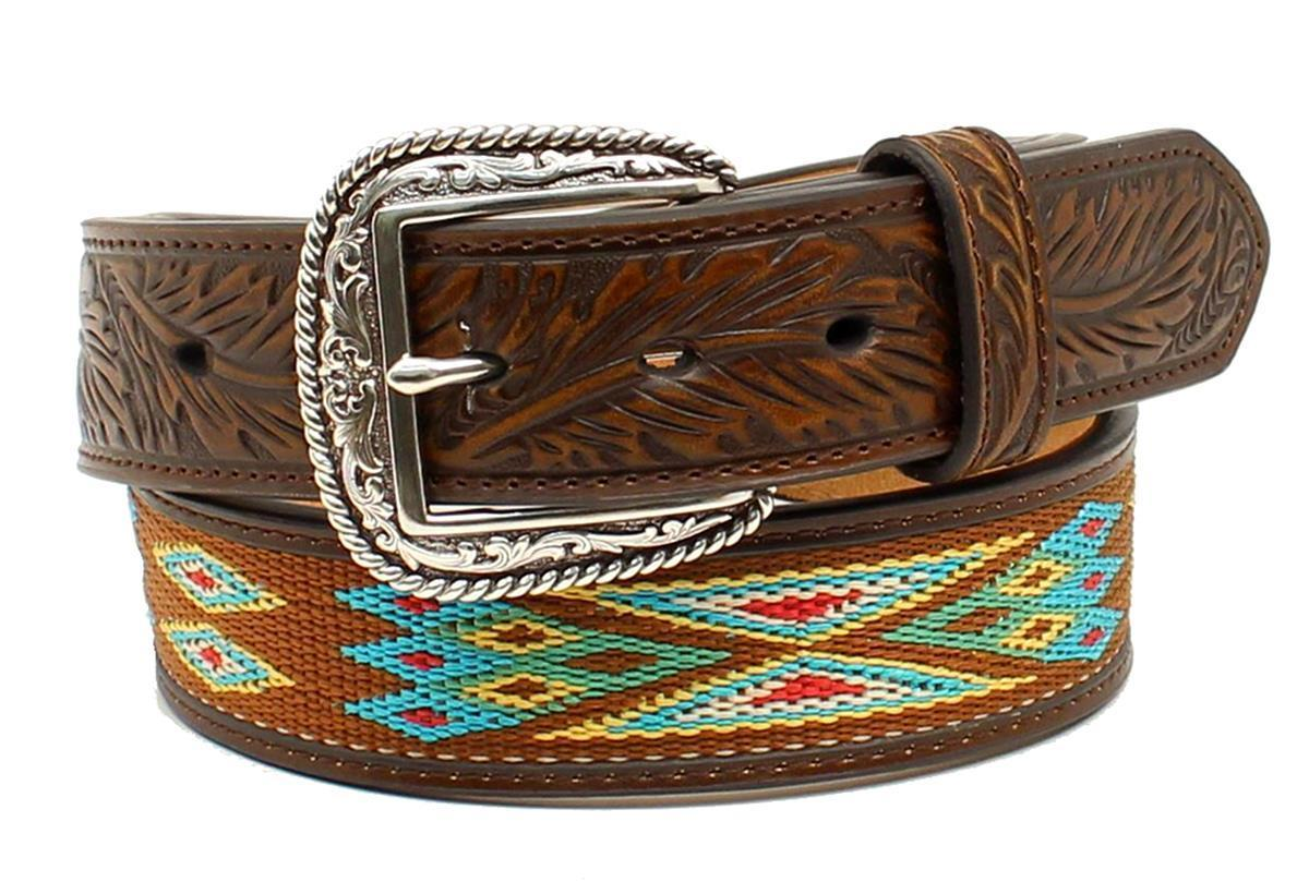 nocona western mens belt leather overlay floral concho
