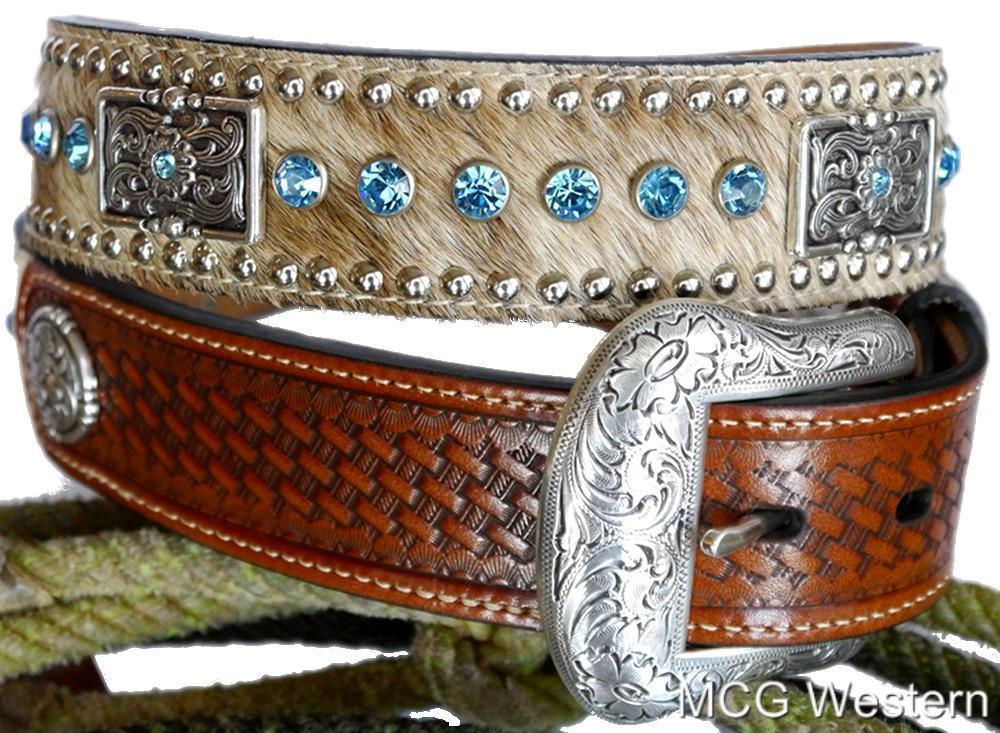 nocona western mens belt leather rhinestones hair conchos