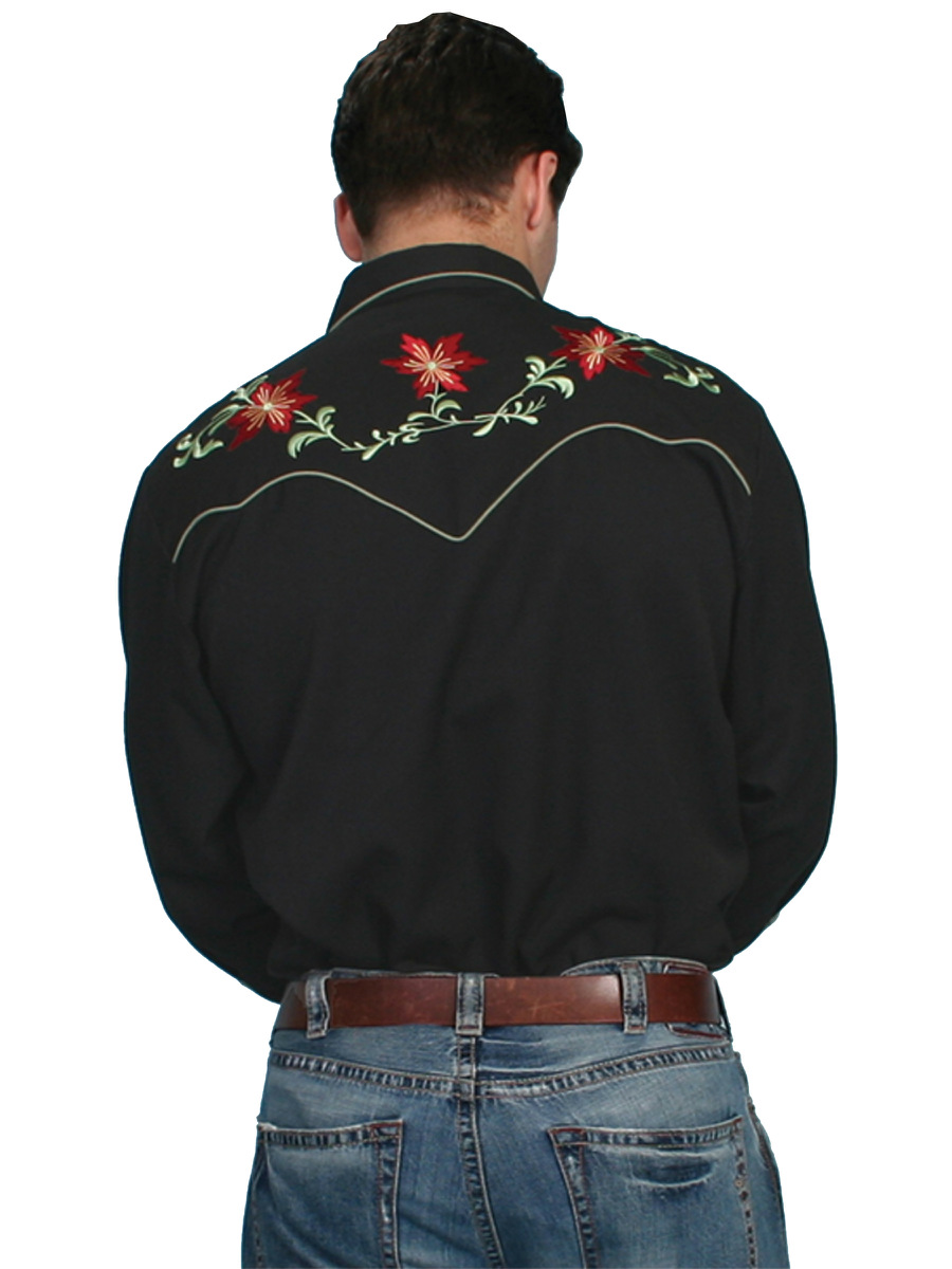 Scully Mens Embroidered Western Shirt Black Floral Cowboy