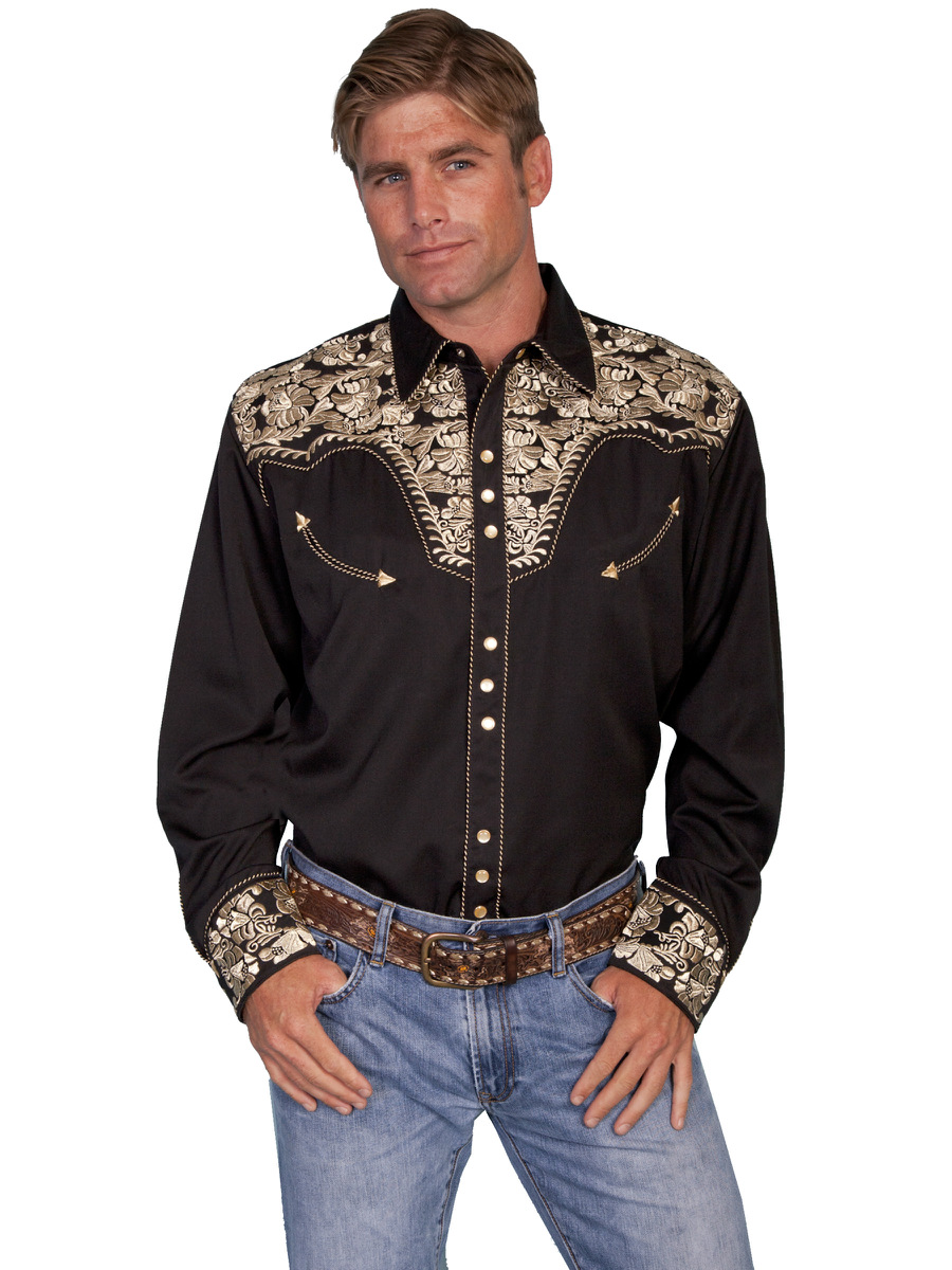 Scully Mens Embroidered Western Shirt Snap Perl Gold Black ...