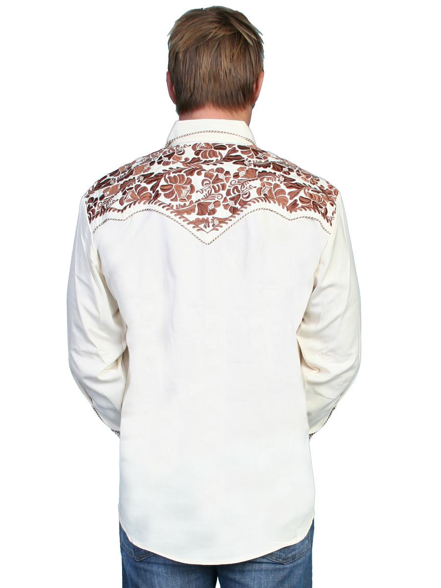 Scully mens embroidered western shirt natural perl snap p
