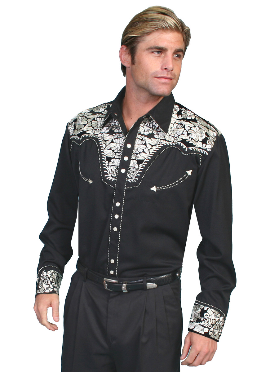 6d4137a3 Details about Scully Mens Embroidered Western Shirt Silver Perl Snap Black  P-634
