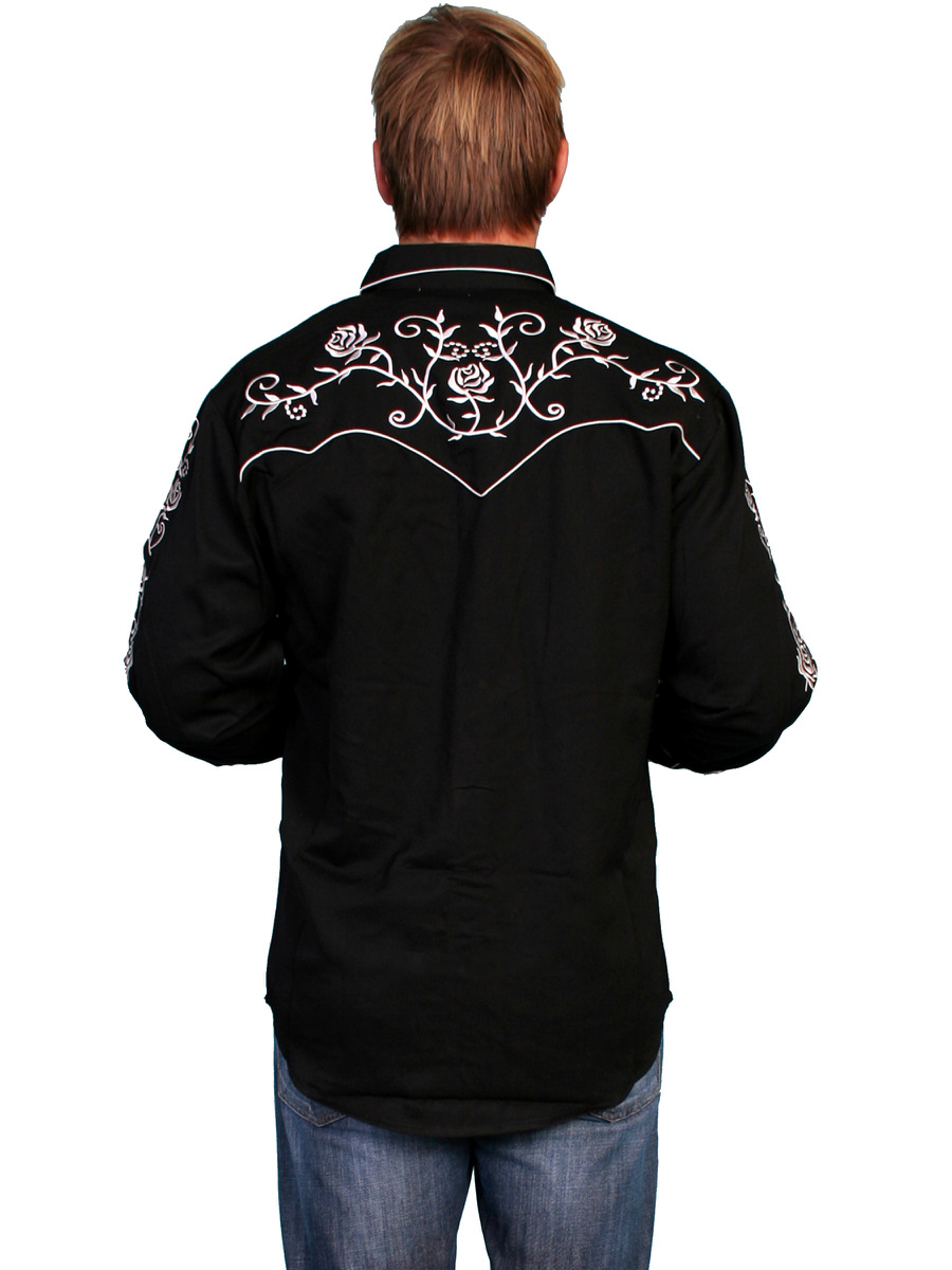 Scully mens embroidered western shirt black roses old west