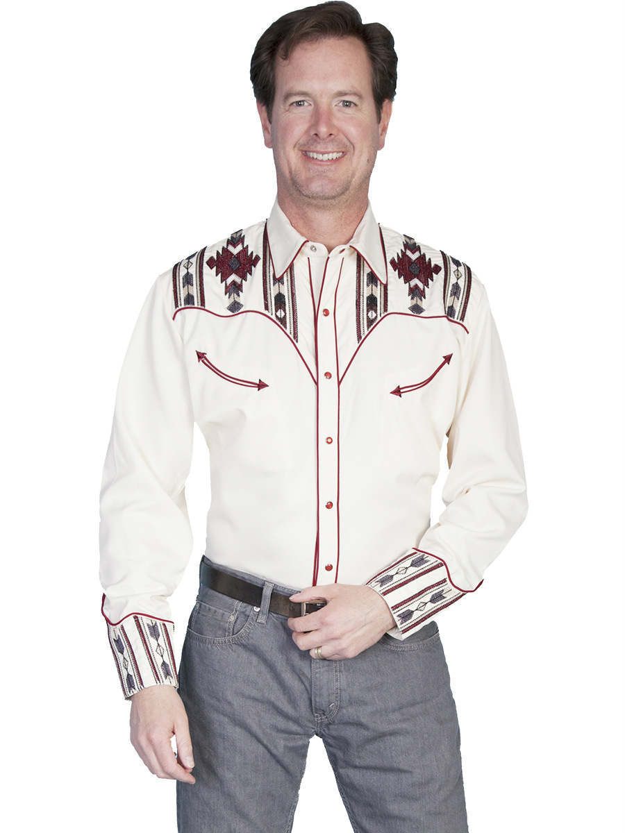 Men's authentic embroidered western shirts from Rockmount Ranch Wear. High quality embroidered shirts feature shotgun cuffs, sawtooth pockets and diamond or round snaps.