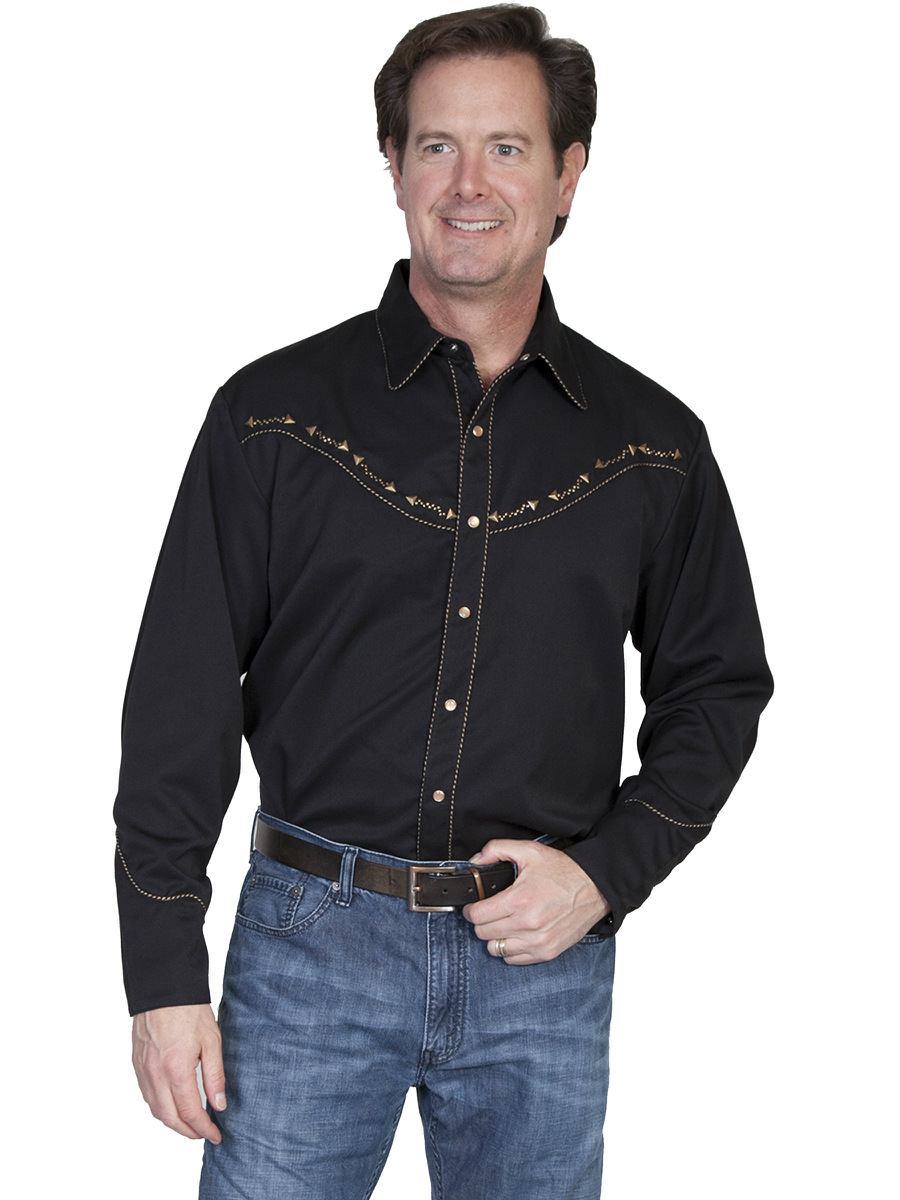 Scully big and tall mens western shirt black candy pipe for Men s big tall shirts