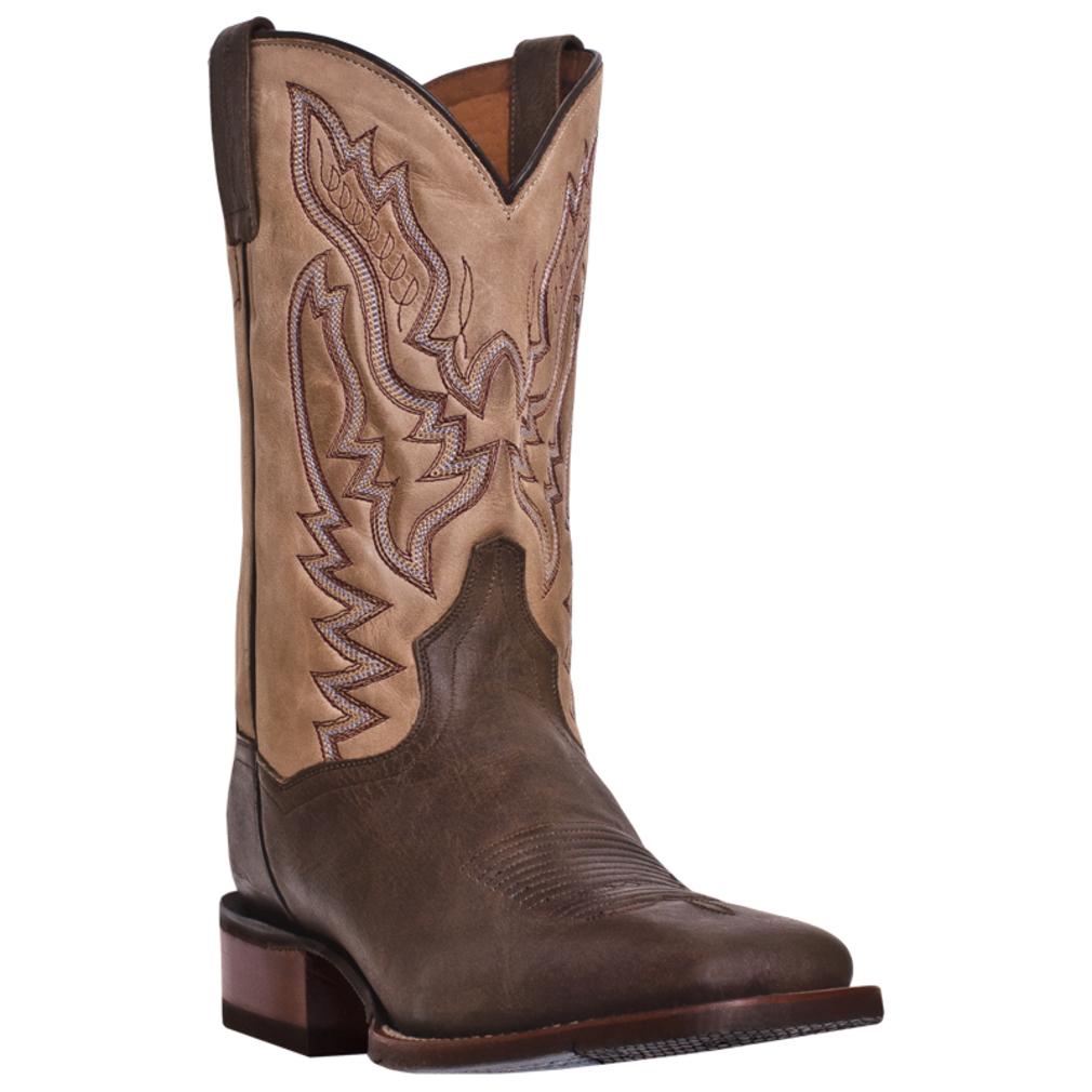 dan post mens cowboy boots gel insole square toe brown
