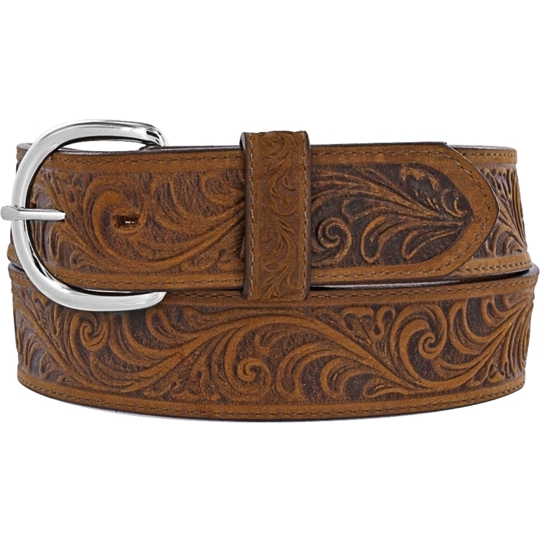 silver creek western mens belt leather brown tooled made