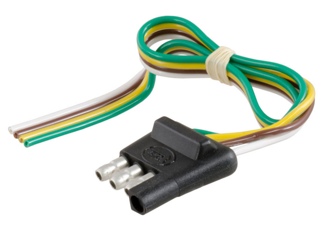 Details About 4 Way Flat Trailer End Wiring Connector With 12 Bonded Wire Curt 58030