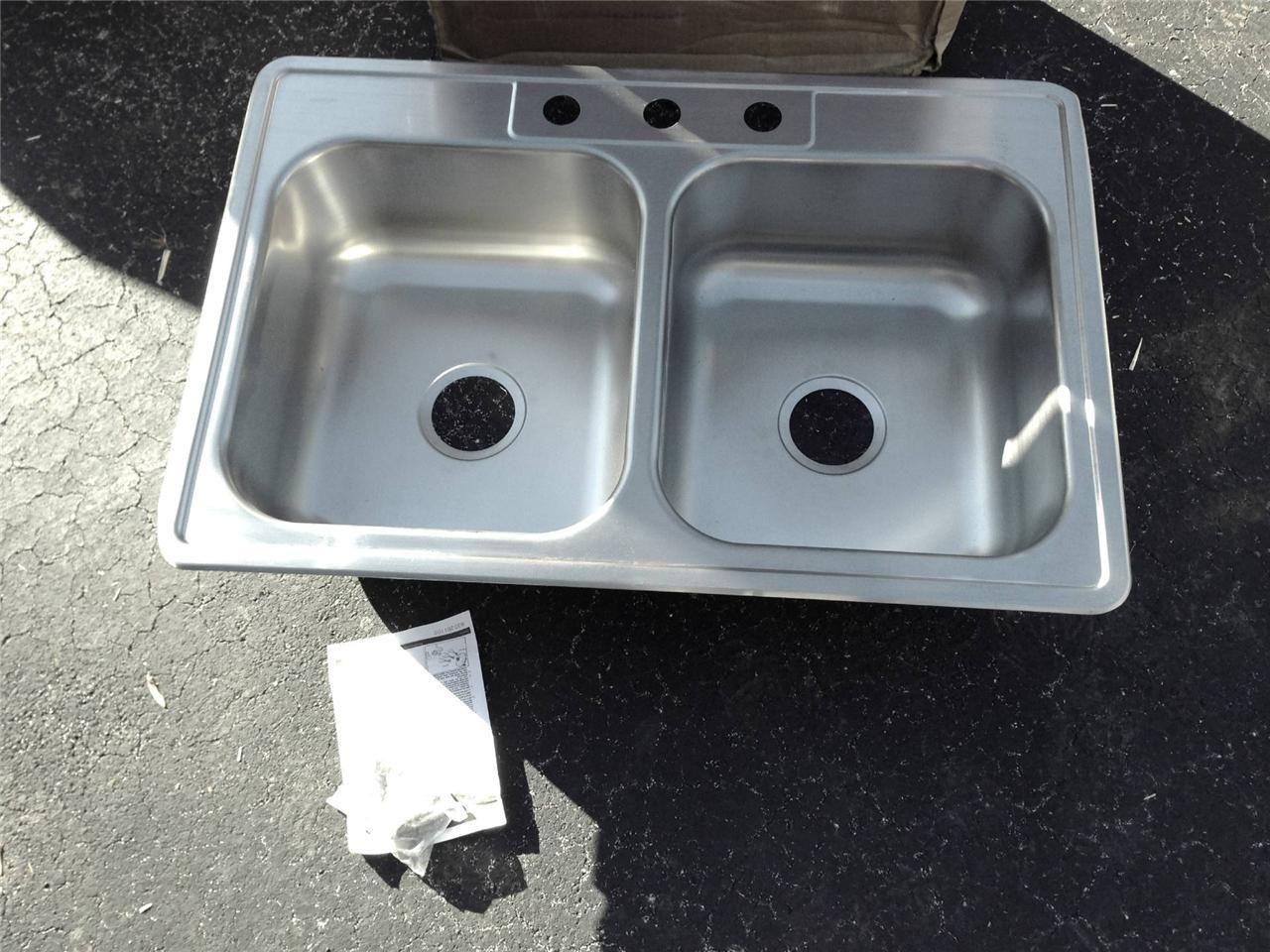 Dayton Sinks : Elkay DXR33223 Dayton 33x22x8 Stainless Steel Double Bowl Kitchen Sink ...
