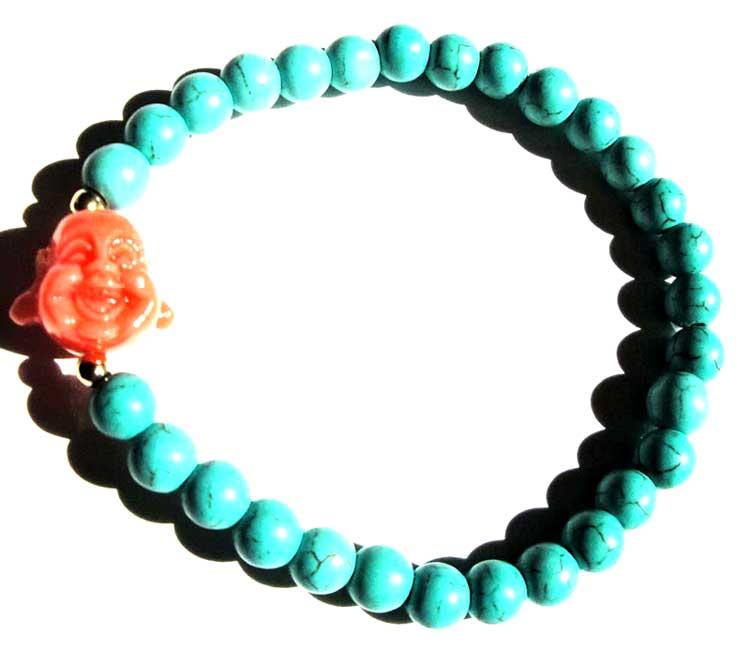 6mm Turquoise Buddha Bracelet
