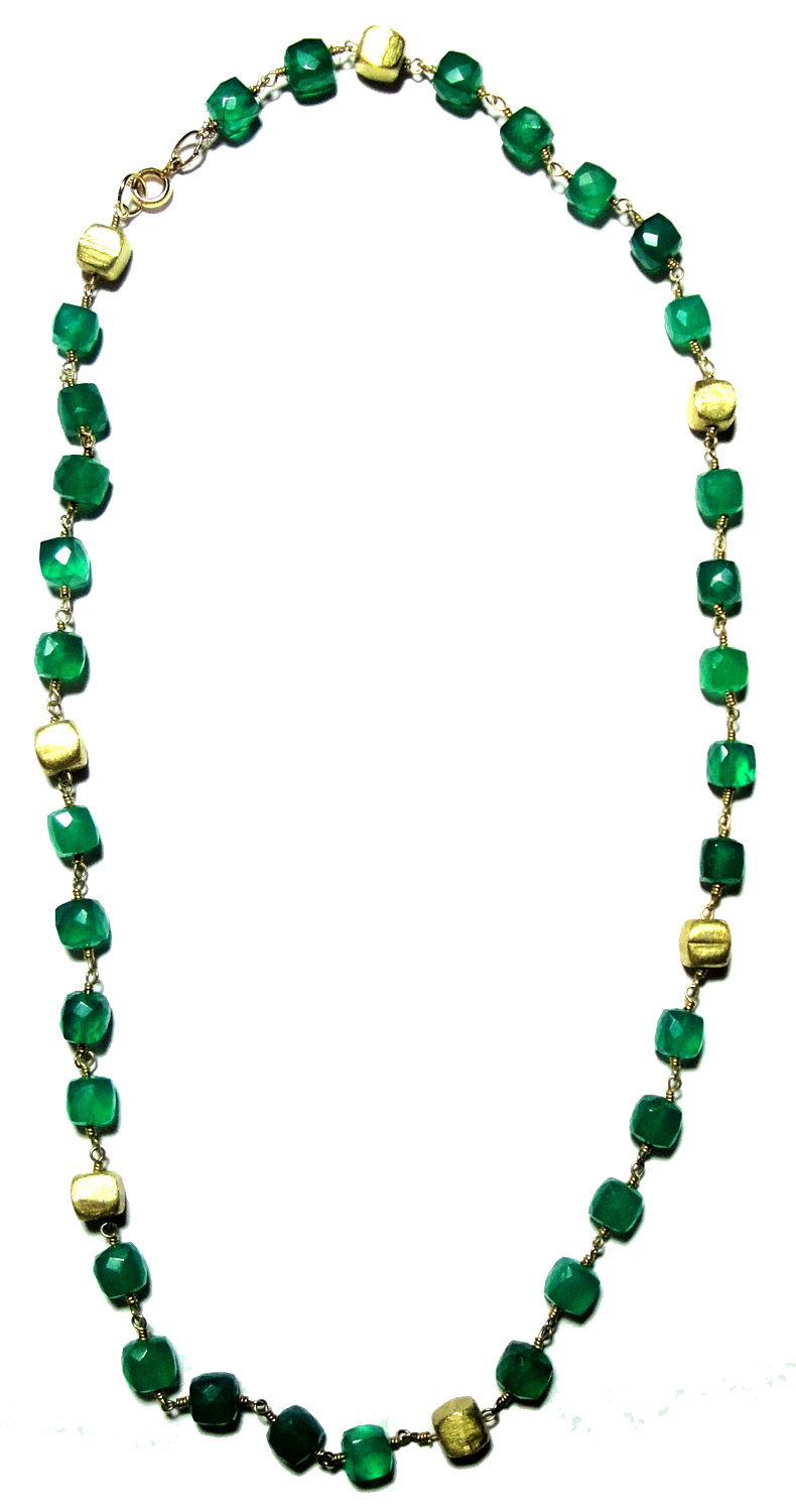Green Onyx Cube Vermeil Chain Necklace