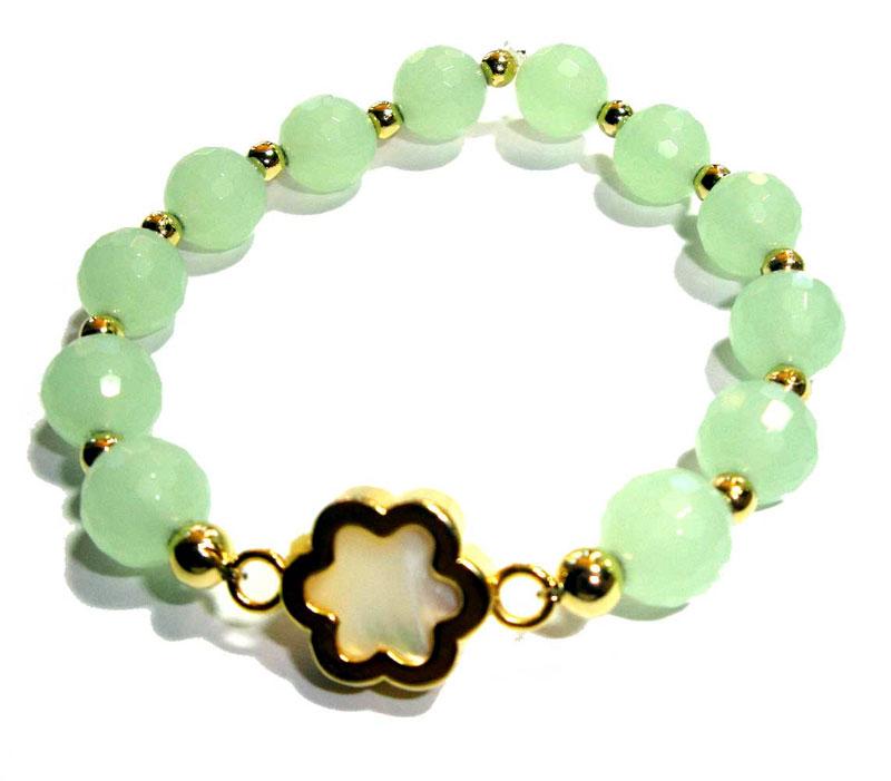 10mm Sea Foam Green Quartz Flower Bracelet