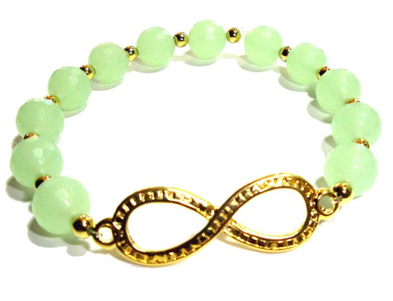 10mm Sea Foam Green Quartz Infinity Bracelet