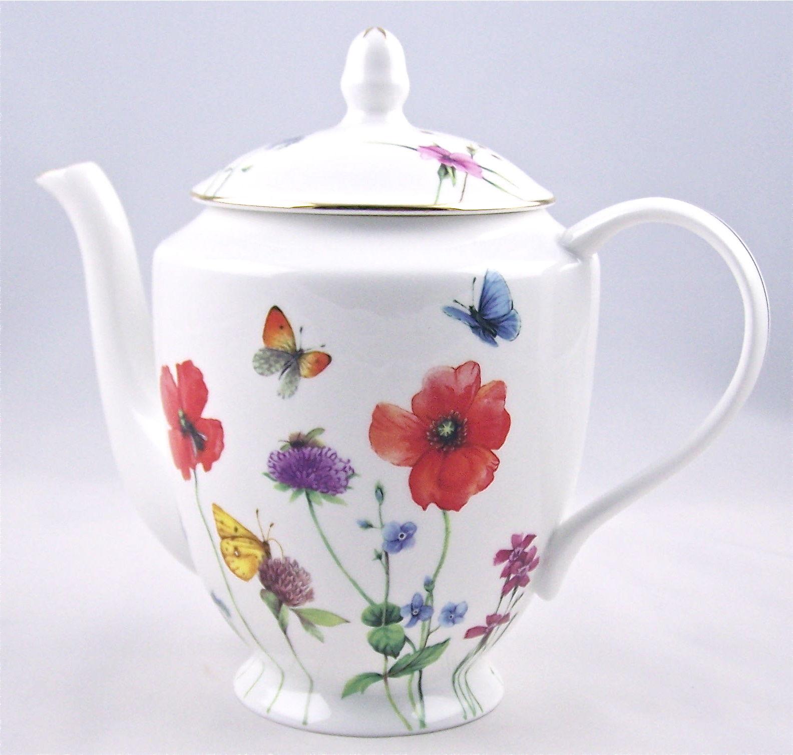 Fine Bone China 6 Cup Teapot Meadow Flowers Chintz