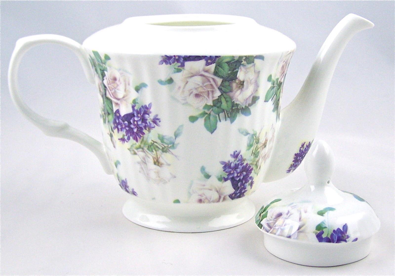 FINE BONE CHINA 6 CUP LARGE WHITE TEA POT