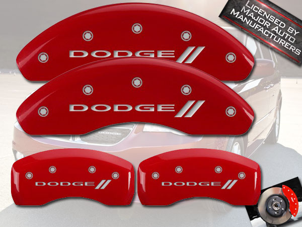 MGP Caliper Covers 28165SMGPRD MGP Engraved Caliper Cover with Red Powder Coat Finish and Silver Characters, Set of 4