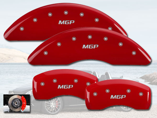 Set of 4 MGP Caliper Covers 17205SMGPRD MGP Engraved Caliper Cover with Red Powder Coat Finish and Silver Characters,