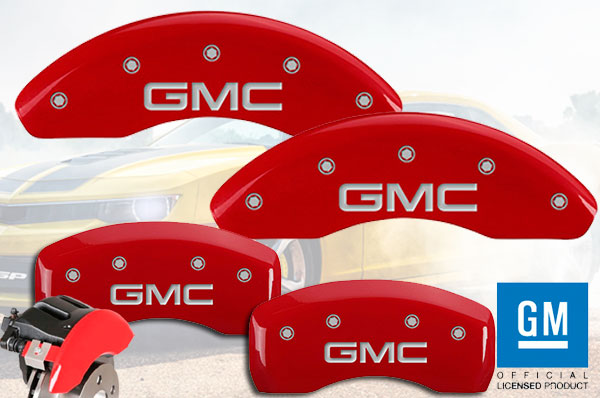 RED SET OF 4 CALIPER COVERS SILVER CHARACTERS FRONT AND REAR: GMC