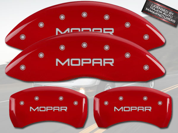 MGP Caliper Covers 12005SCL1RD Challenger ll Engraved Caliper Cover with Red Powder Coat Finish and Silver Characters, Set of 4