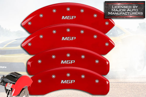 JEEP JEEP Grill logo Silver Characters, Engraved MGP Caliper Covers 42012SJPLRD Red Powder Coat Finish Front and Rear Caliper Cover Set of 4