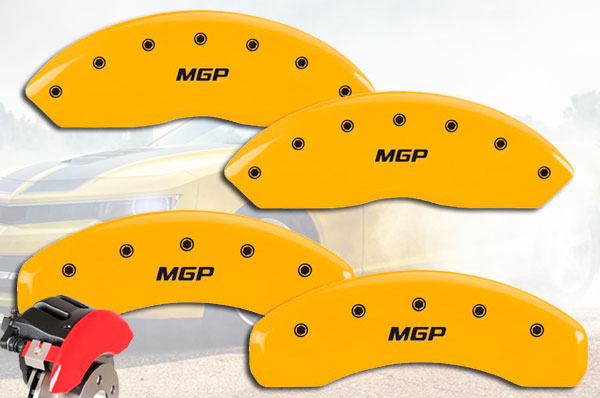 MGP Caliper Covers Set of 4 Engraving For 2006-2011 Cadillac DTS-Yellow